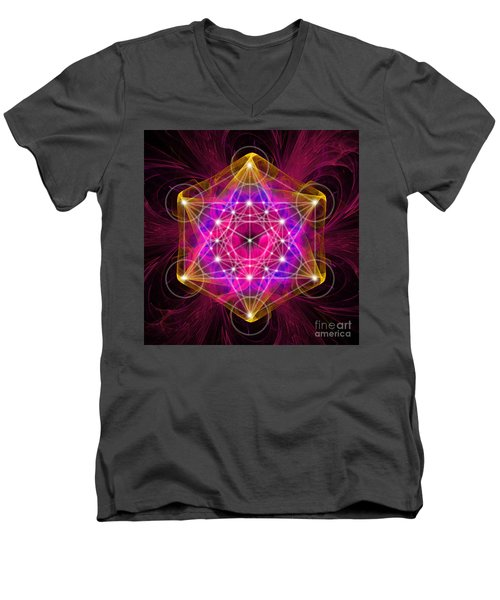 Metatron's Cube With Flower Of Life Men's V-Neck T-Shirt
