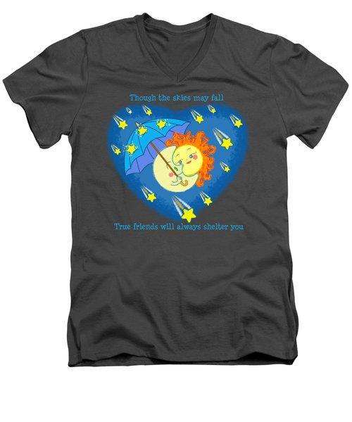 Men's V-Neck T-Shirt featuring the digital art Meteor Shower 3 by J L Meadows