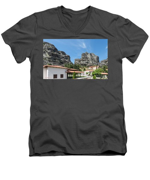 Men's V-Neck T-Shirt featuring the photograph Meteora In Greece by Arik Baltinester