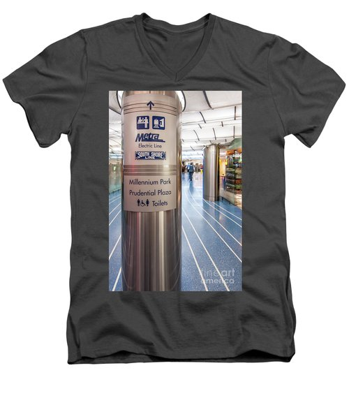 Metra Electric Line Column Sign Men's V-Neck T-Shirt
