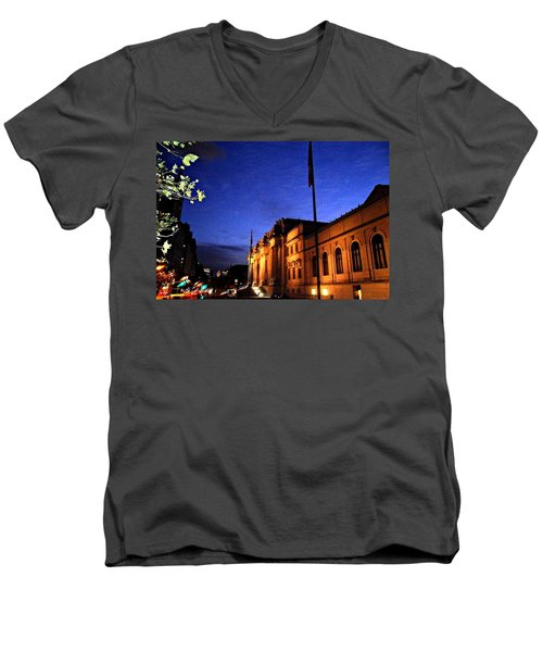 Men's V-Neck T-Shirt featuring the photograph Metropolitan Museum Of Art Nyc by Vannetta Ferguson