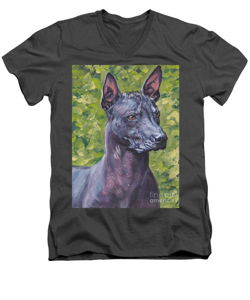 Men's V-Neck T-Shirt featuring the painting Mexican Hairless Dog Standard Xolo by Lee Ann Shepard