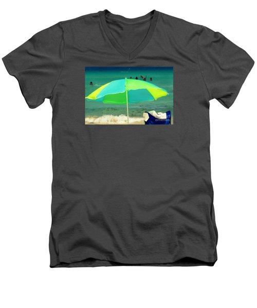 Miami Beach 3 Men's V-Neck T-Shirt by France Laliberte