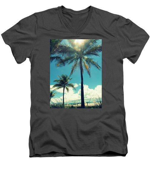Miami Beach Men's V-Neck T-Shirt by France Laliberte