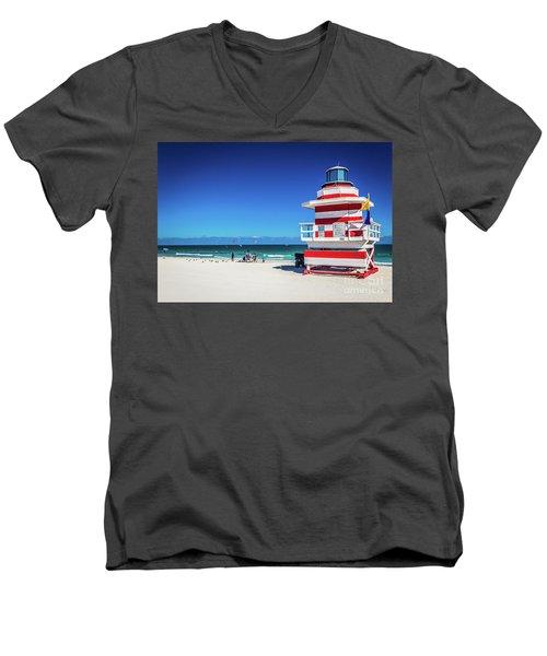 Miami Beach Lifeguard 4463 Men's V-Neck T-Shirt