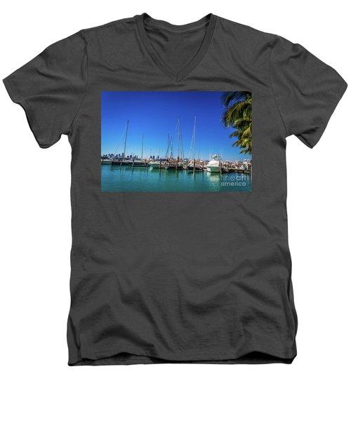 Miami Beach Marina 4509 Men's V-Neck T-Shirt