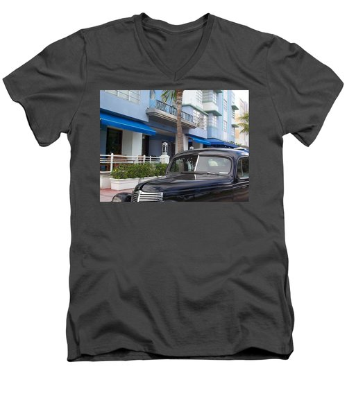 Men's V-Neck T-Shirt featuring the photograph Miami Beach by Mary-Lee Sanders