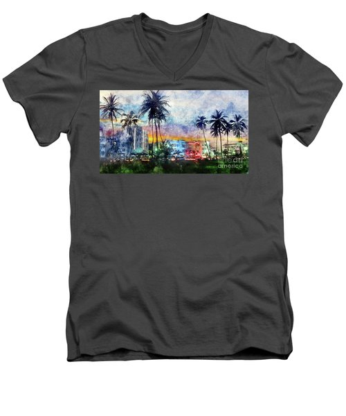 Miami Beach Watercolor Men's V-Neck T-Shirt