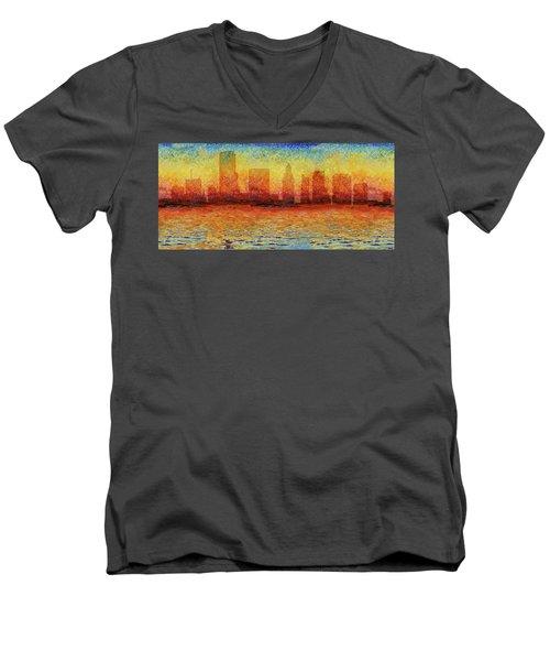 Miami Skyline 5 Men's V-Neck T-Shirt by Andrew Fare