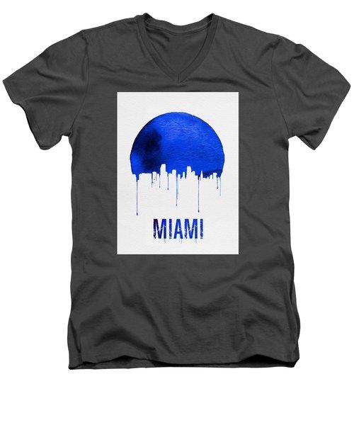 Miami Skyline Blue Men's V-Neck T-Shirt by Naxart Studio