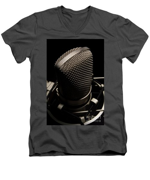Men's V-Neck T-Shirt featuring the photograph Mic by Brian Jones