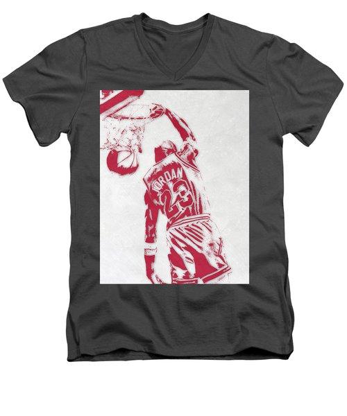 Michael Jordan Chicago Bulls Pixel Art 1 Men's V-Neck T-Shirt by Joe Hamilton