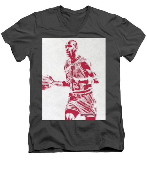 Michael Jordan Chicago Bulls Pixel Art 2 Men's V-Neck T-Shirt