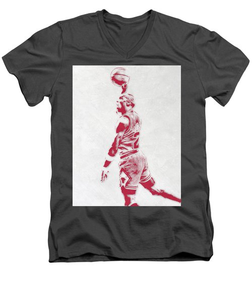 Michael Jordan Chicago Bulls Pixel Art 3 Men's V-Neck T-Shirt