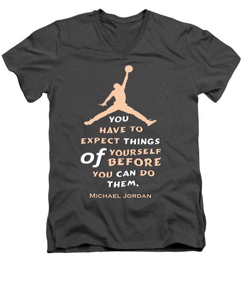 Michael Jordan Famous Basketball Players Quotes Men's V-Neck T-Shirt