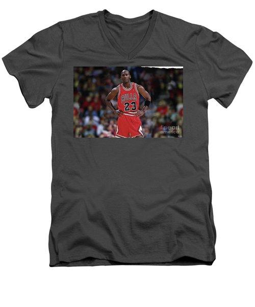 Michael Jordan, Number 23, Chicago Bulls Men's V-Neck T-Shirt by Thomas Pollart