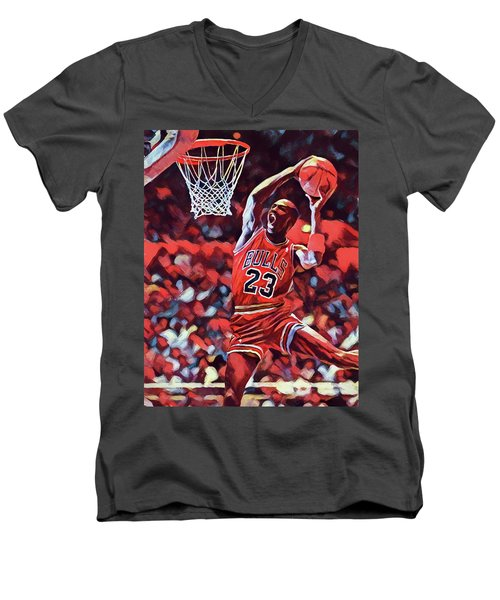Men's V-Neck T-Shirt featuring the painting Michael Jordan Slam Dunk by Dan Sproul