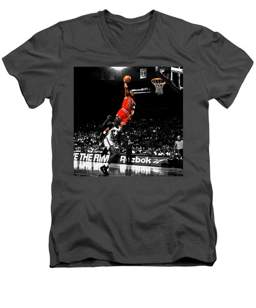 Michael Jordan Suspended In Air Men's V-Neck T-Shirt by Brian Reaves