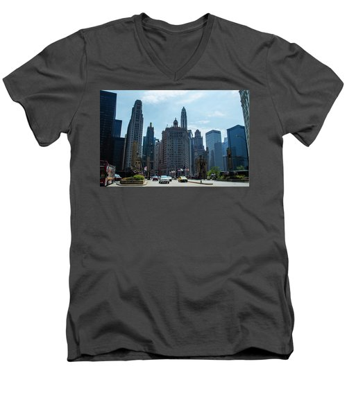 Michigan Avenue Bridge And Skyline Chicago Men's V-Neck T-Shirt by Deborah Smolinske