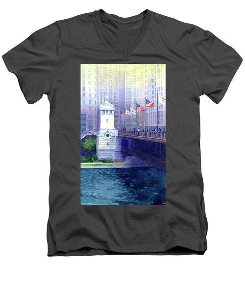 Michigan Avenue Bridge Men's V-Neck T-Shirt