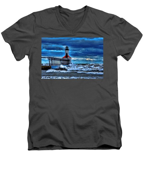 Michigan City Lighthouse Men's V-Neck T-Shirt