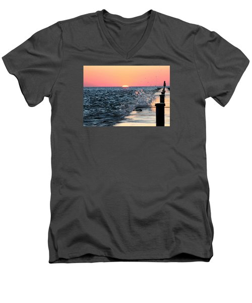 Michigan Summer Sunset Men's V-Neck T-Shirt by Bruce Patrick Smith