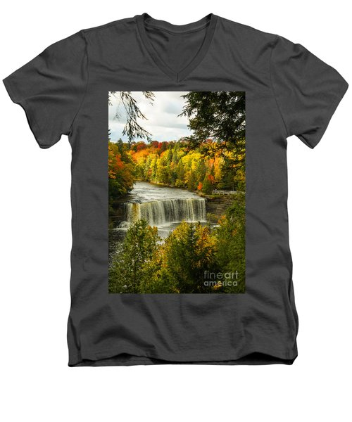 Michigan Waterfall Men's V-Neck T-Shirt by Marilyn Carlyle Greiner