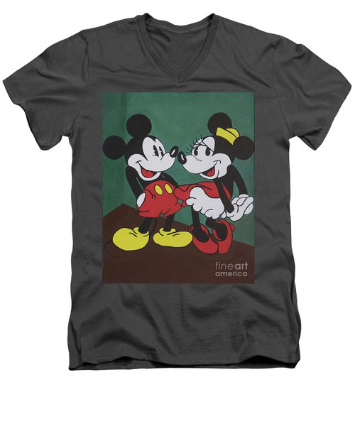 Mickey And Minnie Men's V-Neck T-Shirt