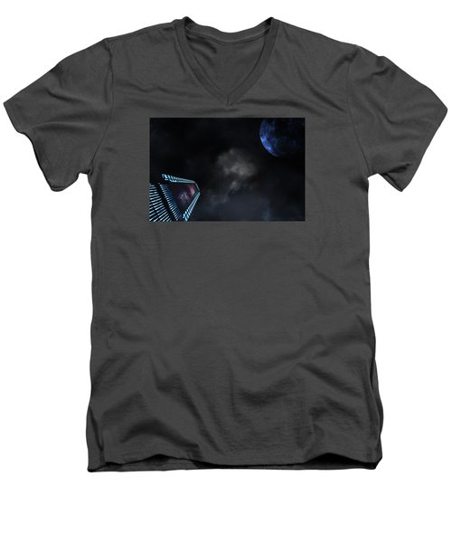 Micro Chips In Outer Space On The Way To Planets Men's V-Neck T-Shirt