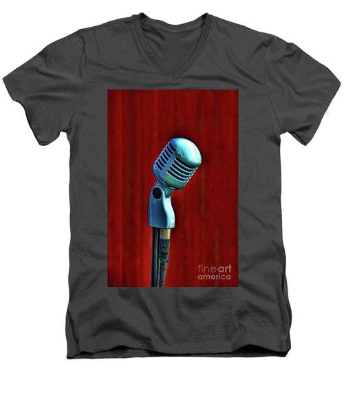 Microphone Men's V-Neck T-Shirt by Jill Battaglia