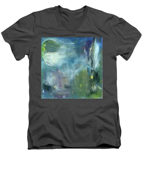 Men's V-Neck T-Shirt featuring the painting Mid-day Reflection by Michal Mitak Mahgerefteh