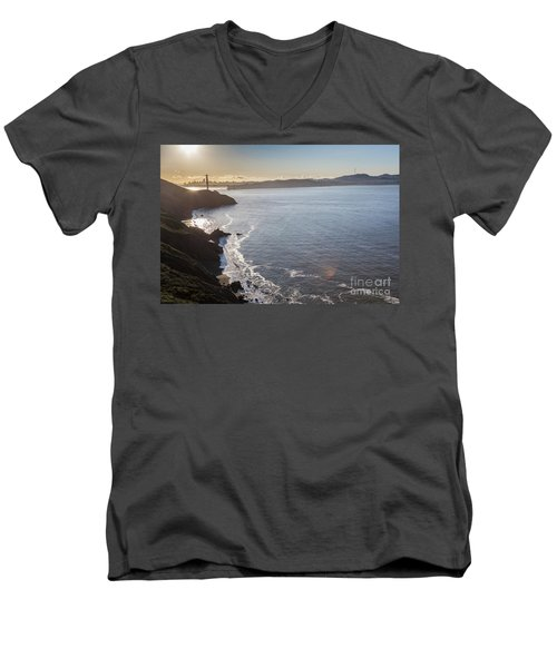 Mid Morning View Of The Downtown San Franscisco Over The Golden  Men's V-Neck T-Shirt