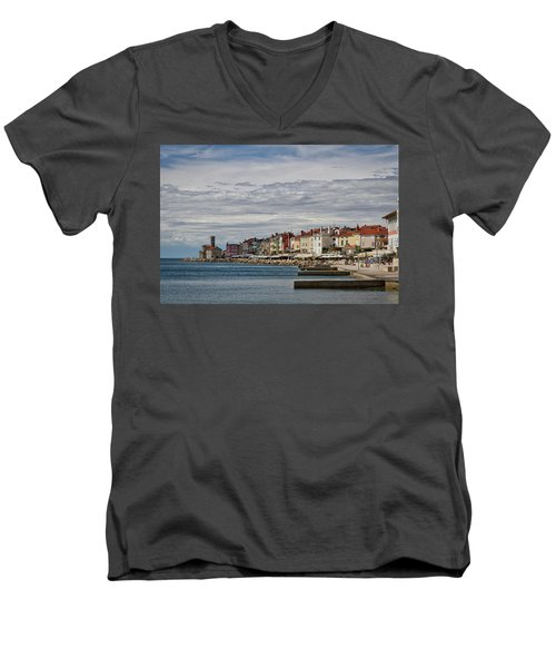 Men's V-Neck T-Shirt featuring the photograph Midday In Piran - Slovenia by Stuart Litoff
