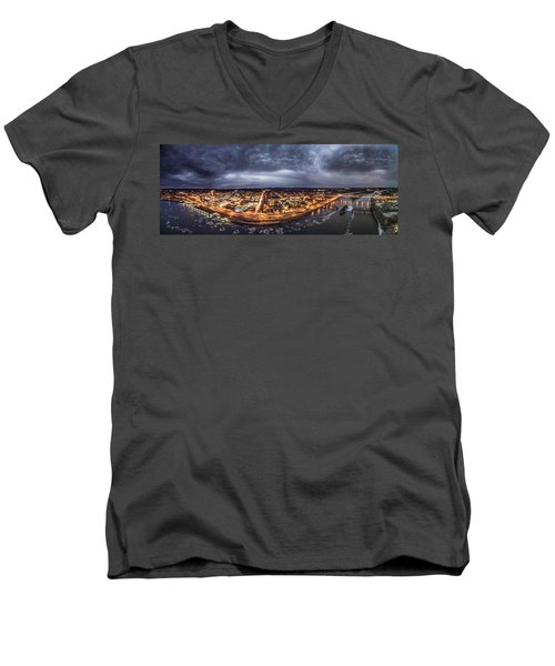 Middletown Connecticut, Twilight Panorama Men's V-Neck T-Shirt by Petr Hejl