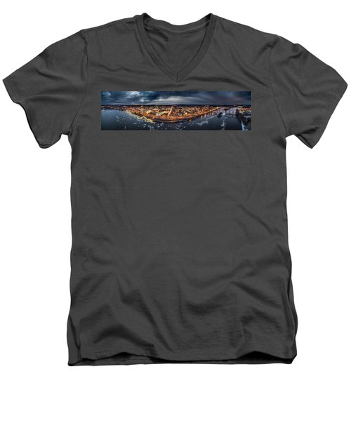 Middletown Ct, Twilight Panorama Men's V-Neck T-Shirt by Petr Hejl