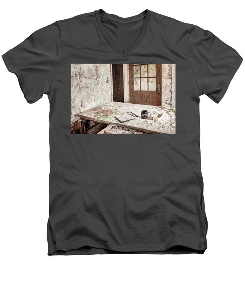 Men's V-Neck T-Shirt featuring the photograph Midlife Crisis In Progress - Abandoned Asylum by Gary Heller