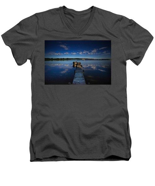 Midnight At Shady Shore On Moose Lake Minnesota Men's V-Neck T-Shirt
