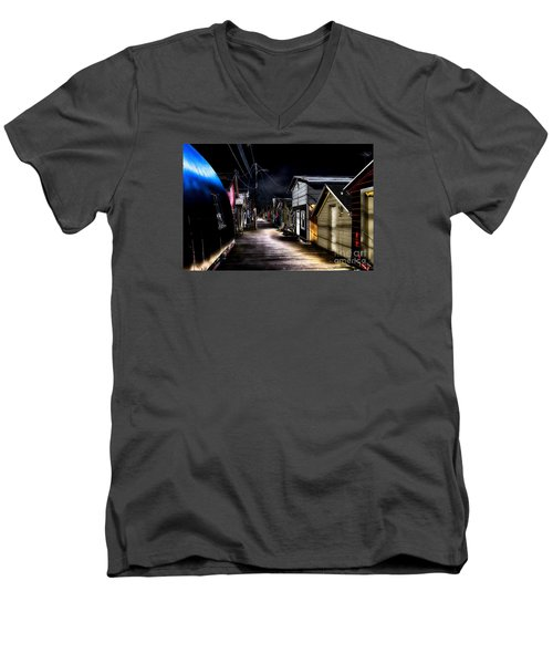 Midnight At The Boathouse Men's V-Neck T-Shirt by William Norton
