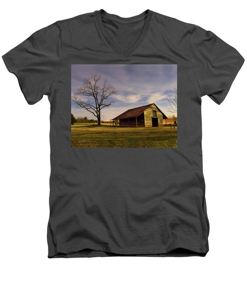 Men's V-Neck T-Shirt featuring the photograph Midnight At The Mule Barn by George Randy Bass