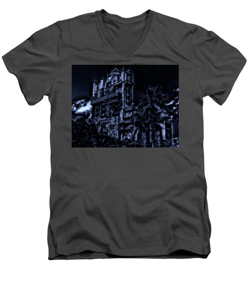 Midnight At The Tower Of Terror Mp Men's V-Neck T-Shirt by Thomas Woolworth