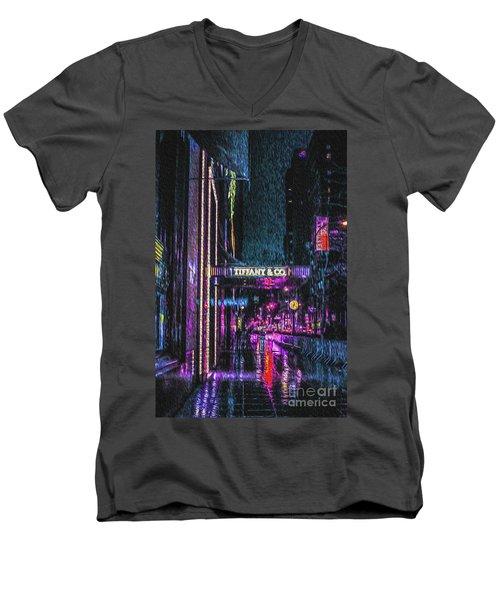 Midnight At Tiffany Painting Men's V-Neck T-Shirt