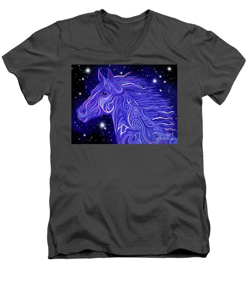 Men's V-Neck T-Shirt featuring the drawing Midnight Blue Mustang by Nick Gustafson