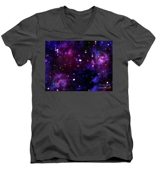 Midnight Blue Purple Galaxy Men's V-Neck T-Shirt