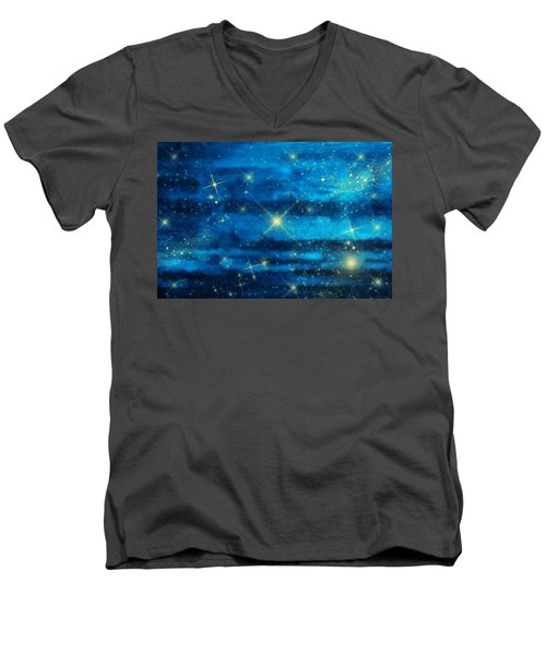 Midnight Blue Sky With Stars Men's V-Neck T-Shirt