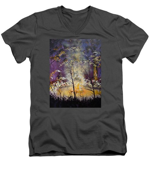Midnight Campsite Men's V-Neck T-Shirt by Dan Whittemore