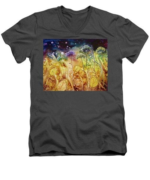 Midnight Flowers Men's V-Neck T-Shirt