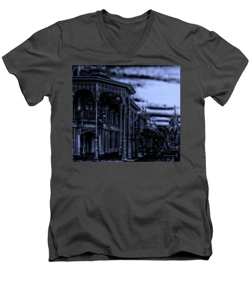 Midnight On Main Street Disney World Mp Men's V-Neck T-Shirt by Thomas Woolworth