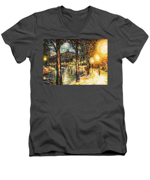 Midnight Reflections Men's V-Neck T-Shirt