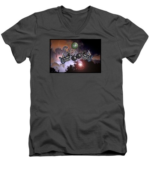 Midnight Rider Men's V-Neck T-Shirt by Amanda Vouglas