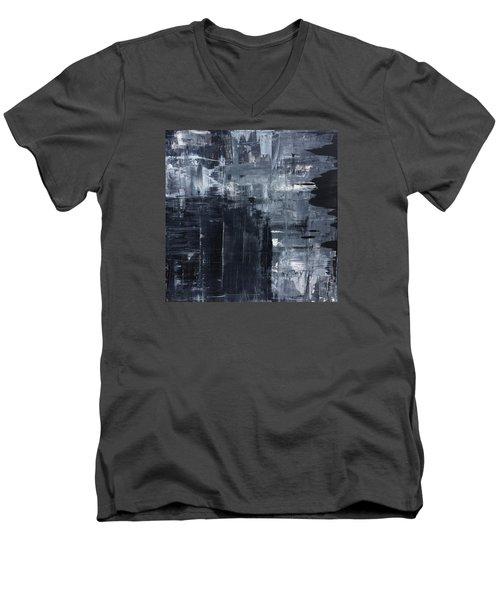 Midnight Shades Of Gray - 48x48 Huge Original Painting Art Abstract Artist Men's V-Neck T-Shirt